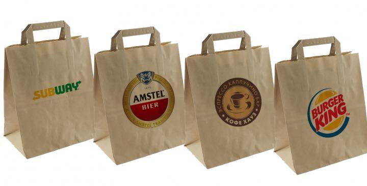 Крафт пакеты с логотипом и ручками